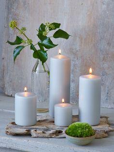 Dove Grey Pillar Candles