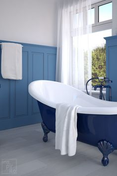 Explore these 25+ perfect paint colors for your bathroom/walls. Best bathroom paint color ideas and color schemes, neutral, gray, dark, blue, bright with the best design ever. #bathroom #bathroomcolors #bathroompaint #homedecor Neutral Bathroom, Bathroom Wall, Master Bathroom, Blue Grey, Dark Blue, Gray, Best Bathroom Paint Colors, Beautiful Bathrooms, Clawfoot Bathtub