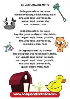 en la granja de mi tio Spanish Lessons For Kids, Teaching Spanish, Bedtime Songs, Poetry For Kids, Baby Learning, Kids Corner, Eyfs, Musicals, Kindergarten