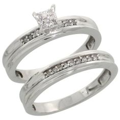 Sterling Silver Diamond Engagement Ring Set 2-Piece 0.09 cttw Brilliant Cut, 1/8 inch 3.5mm wide, Size 10 Sabrina Silver. $85.30. Save 64%!