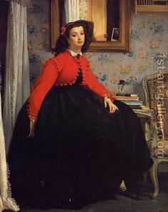 James Jacques Joseph Tissot:Portrait of Mademoiselle L.L. (Young Woman in a Red Jacket)  1864