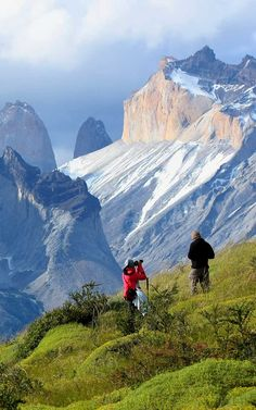 Trekking to Los Cuernos del Paine in Torres del Paine National Park, Chile.