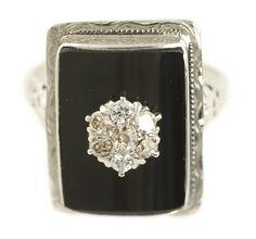 Antique Diamond and Black Onyx Ring