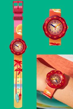 With a rotating fiery red bezel and a beach-themed print, the PALMIBOO (ZFPSP040) is a watch for kids in orange that would make a dazzling gift. Swiss-made for precision, the digital dial makes telling the time with this watch easy, while the shock and water resistance offers complete protection. Fiery Red, Telling Time, Beach Themes, Orange, Yellow, Swatch, Bracelet Watch, Digital, Easy