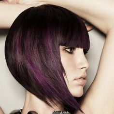 Reverse Bob with purple highlights...in not sure about the bangs but I am loving the purple highlights