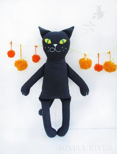 Black Cat Halloween toy  - Stuffed black cat doll personalized - Halloween decor handmade by Joyful River - READY TO SHIP