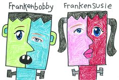 Art Projects for Kids: Frankenkids Cubist Collage - My kids loved this simple art project. Plus it went quickly and they all look super cute!
