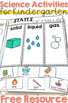 Kindergarten Science Interactive Journals and a FREEBIE! B's Beehive States of matter freebie to help your kindergarten students learn the difference between solids, liquids, and gases. Preschool Science, Science Experiments Kids, Science Classroom, Science Lessons, Teaching Science, Science Resources, Science Education, Kid Science, Elementary Science