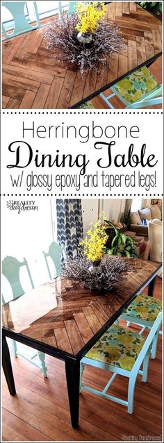 Gorgeous Herringbone Wooden Dining Table with Tapered Legs. A DIY tutorial! {Reality Daydream}
