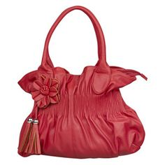 I lke the softer, feminine look of this red Marie Claire handbag by Bata... <> (red, color, accessories)