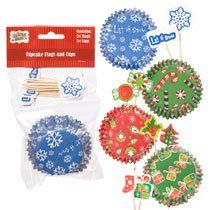 24 Red Christmas Cupcake Baking Cups  24 Flags Holly  Christmas Tree Flags -- Check out this great product by click affiliate link Amazon.com