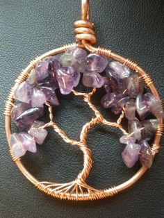 Amethyst Tree of Life Pendant in Copper