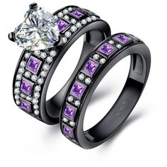 Heart Cut Lab-created Diamond Amethyst Black Wedding Ring Set ($139) ❤ liked on Polyvore featuring jewelry, rings, diamond band wedding ring, heart shaped rings, heart jewelry, amethyst jewelry and amethyst wedding rings
