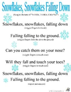 movement activities/games: catchy song about snow that all the kids can sing together with the teachers, after the song they can talk about snow and what its like and how snowflakes are all different and no two look alike. Snow Activities, Movement Activities, Winter Activities For Toddlers, Music Activities, Motor Activities, Physical Activities, Therapy Activities, Preschool Music, Winter Preschool Songs