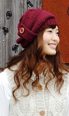 【楽天市場】作品♪z457-2-knitcapベレー風ニット帽:毛糸ZAKKAストアーズ