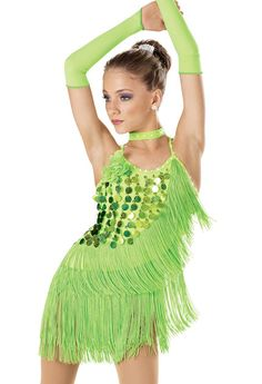 Ruffle green costume with large green sparkles(dance like this)