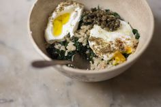 Kale Rice Bowl - sounds interesting..lots of bizarro ingress, so this might be an at home in Mom's kitchen kind of a project!