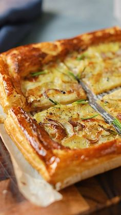 Recipe with video instructions: Your weeknight dinners just got a whole lot more exciting Ingredients: One rectangular sheet pre-rolled all butter puff pastry, , approximately 320-270g, 1/2 red onion, 400g Charlotte potatoes, 2 tbsp vegetable oil, Sea salt flakes, 60g mascarpone, 120g gorgonzola piccante, 3 tbsp double cream, 1 egg yolk, 1 tbsp milk , Black pepper, freshly ground, Few sprigs of rosemary