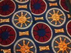 0 5 Yard Beautiful Design Red Yellow Blue 100 Cotton African Wax Print | eBay