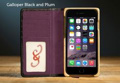 Plum and Black Leather iPhone® 6s Plus Wallet Case