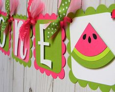 Pink and Green Watermelon Birthday Party High Chair Mini Banner - Watermelon Party Decorations - High Chair Garland - First Birthday Watermelon Party Supplies, Watermelon Party Decorations, Watermelon Decor, Watermelon Birthday Parties, Diy Birthday Decorations, First Birthday Parties, First Birthdays, Green Watermelon, Watermelon Ideas
