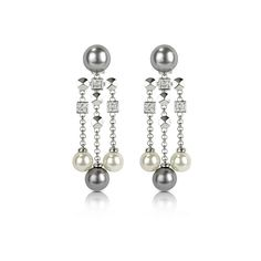 AZ Collection Earrings Glass Pearl Drops Clip On Earrings (1.010 RON) ❤ liked on Polyvore featuring jewelry, earrings, silver, round drop earrings, nickel free earrings, glass earrings, grey pearl drop earrings and beaded earrings