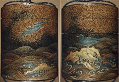 Case (Inrô) with Design of Bird on Standing on Rocks (obverse) Bird Flying above Waves (reverse)  Period: Edo period (1615–1868) Date: 19th century Culture: Japan Medium: Lacquer, roiro, nashiji, gold, red and silver hiramakie, hirame; Interior: fundame