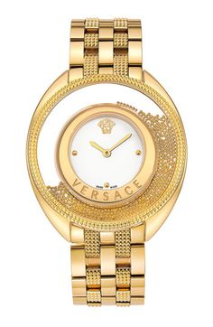 Free shipping and returns on Versace 'Destiny Spirit' Bracelet Watch, 39mm at Nordstrom.com. Shiny gold-plated beads swirl around the clear bezel framing a smooth enamel watch dial marked by an iconic medusa logo. Rich texture abounds in the studded topring and five-link bracelet, furthering the glamorous silhouette.
