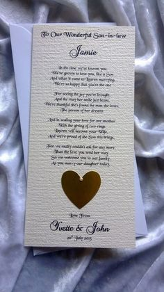 Mother or Parents of the Bride To Son-in-law Personalised Keepsake Poem Card £3.95