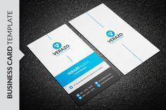 Modern Blue Business Card Template by Verazo on @creativemarket