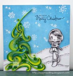 Take a Quill Pill merry christmas quilled card
