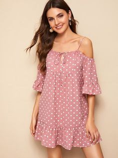 Product name: Open-Shoulder Ruffle Hem Dot Dress at SHEIN, Category: Dresses Short Outfits, Dress Outfits, Fashion Dresses, Cute Dresses, Casual Dresses, Summer Dresses, Frack, Couture, Dot Dress