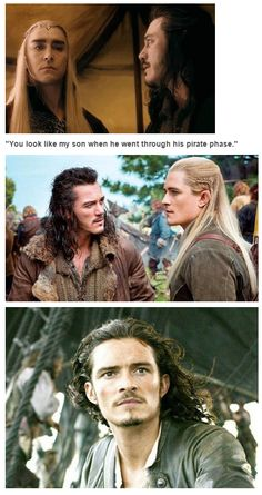 Lee Pace as Thranduil and Orlando Bloom as Legolas in The Hobbit Trilogy Jrr Tolkien, O Hobbit, Into The West, Fandom Crossover, Pirates Of The Caribbean, Lord Of The Rings, Middle Earth, Lotr, Good Movies