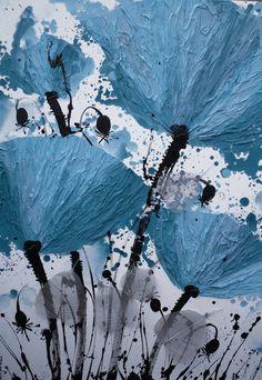 "Saatchi Art Artist: Irina Rumyantseva; Mixed Media 2012 Painting ""Jade Poppies"""