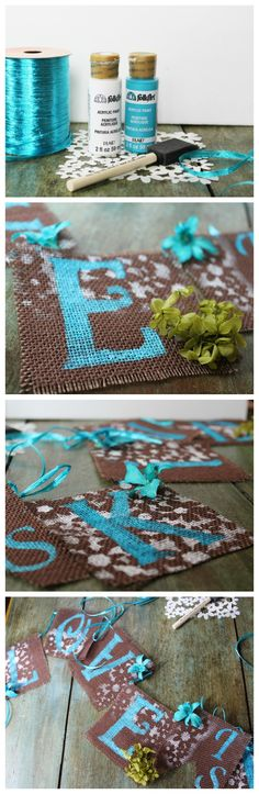 Diy burlap banner. Great for any kind of diy party or decorations.