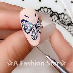 Easy Butterfly Nail Art Design✰A Fashion Star✰ art # nail design Nails - acrylic nails - Nail Art Hacks, Gel Nail Art, Nail Art Diy, Easy Nail Art, Easy Art, Nail Nail, Acrylic Nails, Nail Art Designs Videos, Nail Design Video
