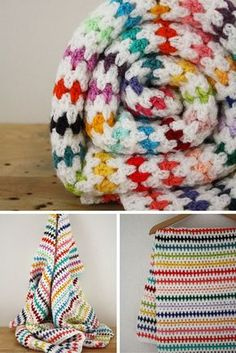 FREE crochet pattern for a crochet blanket. Crochet a blanket in a diamond stitch and make a beautiful crochet rainbow blanket. Check out the free crochet pattern for the diamons stitch.
