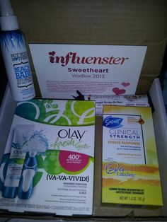 Yay! I got my Sweetheart VoxBox today. Here's what's inside. Olay fresh effects cleansing system, Secret stress response deodorant (which I deal with a lot of stress so this is perfect!! Can't wait to try!!), Not your mothers beach babe sea salt spray, and Skinny Girl daily on the go bars (greek yogurt blueberry crisp YUM)!