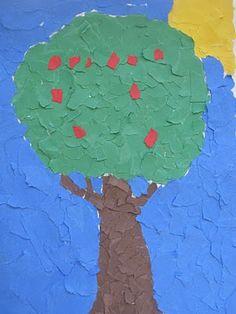 Torn paper apple tree craft - great for fine motor development!
