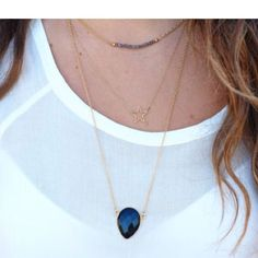 New gold black star Crystal layering necklace Adorable adjustable Necklace black teardrop Crystal and stars Jewelry Necklaces