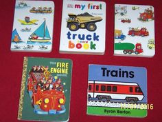 Fire Engine Trucks Trains Boat 5 Boys Board books Transportation Toddler Daycare