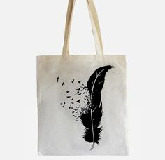 Tote with feather/bird design