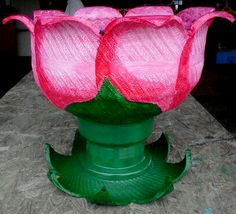 Hot Pink on Lt. Pink Recycled Tire Planter/Party Cooler on Rim