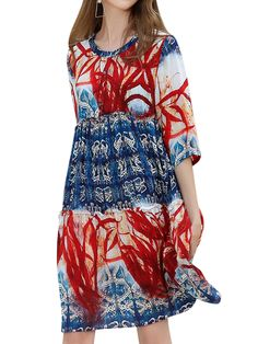 Sale 14% (34.79$) - Floral Print Round Neck 3/4 Sleeve Mini Dresses