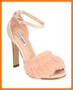 Women Furry Triangular Heel - Formal, Dressy, Wedding - Ankle Strap Heel Sandal - GD12 By Cape Robbin - Pink (Size: 7.5) (*Partner Link)