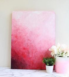 DIY Red Abstract Painting -- A palette knife is a great way to make an abstract painting. #decoartprojects #artpainting #abstractart