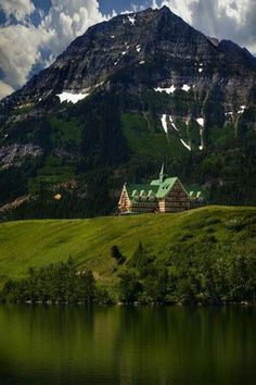 Waterton Lakes Park, Alberta,  Canada. One of my favorite hotel memories. Spooky!  We stayed on a dark 'n' stormy night, listening to the bartender's ghost stories with the lightning flashing over the lake.
