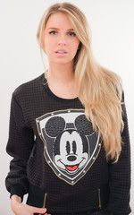 Mickey Black Quilted Crystal Embellished Sweater
