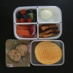 """Lunch boxes today. Sweet Potato chips, boiled egg, carrot, cucumber, tomato, cheese, blueberries, mango & choc chip cookies. COOKIES recipe can be found in my 2nd Cookbook """"Cut out the Crap for Kids"""" which is available in both paper copy and as an Ebook!  #cutoutthecrap #glutenfree #dairyfree #preservativefree #additivefree #lunchbox #lunch #morningtea #schoolfood #kidsfood #collettewhite #allergies #intolerances #grateful #foodie #foodideas #yum #delicious #cutoutthecrapforkids #recipes"""
