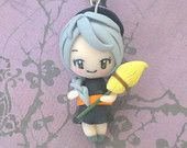 Witch Chibi Necklace - halloween, dressed up chibi, polymer clay, holiday